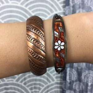Vintage Mexican Sterling Silver Inlaid Bracelet